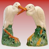 "RARE Pair  19C Chinese  Porcelain Egrets "" BIG & GLORIOUS """