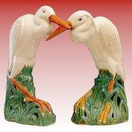 "RARE Pair  19C Chinese  Porcelain Egrets "" BIG & GLORIOUS """