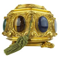 """Glorious Antique French Jeweled Dore' Bronze Hinged Box. """"Eight Large Cabochons Gems"""""""