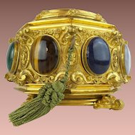 "Glorious Antique French Jeweled Dore' Bronze Hinged Box. ""Eight Large Cabochons Gems"""