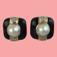 14KARAT Yellow Gold Natural Mabe Pearl Black Onyx Earrings