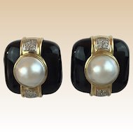 14KARAT Yellow Gold Natural Mabe Pearl Black Onyx Earrings