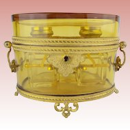 "Antique French Baccarat Double Handles Scent Casket ""GRANDEST"""