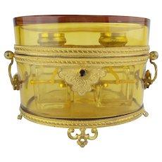 """Antique French Baccarat Double Handles Scent Casket """"GRANDEST"""""""