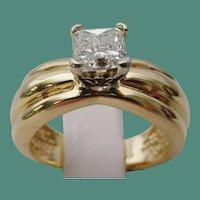 1Carat 14KARAT Yellow Gold SOLITAIRE Radiant Cut Diamond Ring