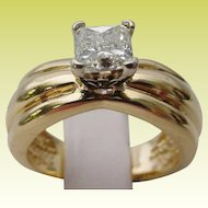 1Carat 14KARAT Yellow Gold SOLITAIRE Radiant Cut Diamond Ring