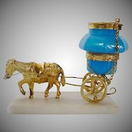 "Palais Royal Opaline Ink Well Goat Cart 	""An 1860 TREASURE"""