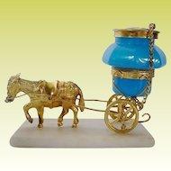 """Palais Royal Opaline Ink Well Goat Cart """"An 1860 TREASURE"""""""