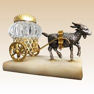 """Rare Grand Tour Goat Inkwell Cart """"EGLOMISE TOP"""""""
