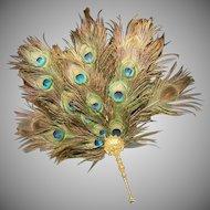 EXQUISITE Antique French Peacock Gilt Bronze Fan