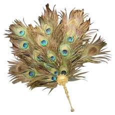 EXQUISITE Antique French Peacock Gilt Bronze Fan