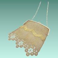 "Antique Gilt Silver Jeweled Handbag ""RARE & VERY FINE"" Appears Like 18K Gold!"