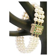 Very Fine Cultured Pearls Three Strand Bracelet with MAJESTIC Emerald &  Diamond Clasp