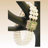 Very Fine Cultured Pearls Three Strand Bracelet with MAJESTIC Emerald &  Diamond Clasp