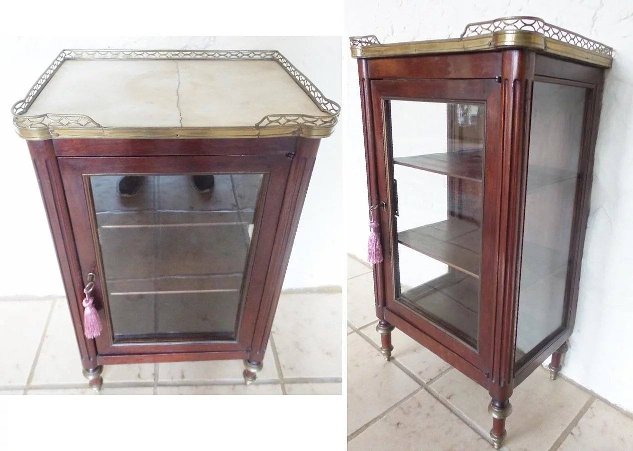 antique miniature vitrine curio cabinet brass galley. Black Bedroom Furniture Sets. Home Design Ideas