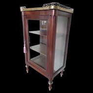 "Antique Miniature Vitrine Curio Cabinet""BRASS GALLEY"""