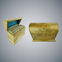 """Antique French Jeweled Dore Bronze Stationary Letter Box """"Covered in Beautiful Turquoise & Garnet Gem"""""""