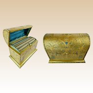 "Antique French Jeweled Dore Bronze Stationary Letter Box ""Covered in Beautiful Turquoise & Garnet Gem"""