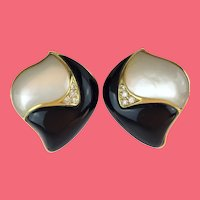 Mother of Pearl and Black Onyx Earrings ~ Framed in 14KARAT Yellow Gold ~ Clip On Earrings
