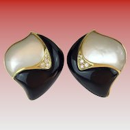 Stunning Mother of Pearl and Black Onyx Earrings.... Framed in 14KARAT Yellow Gold