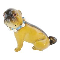 "Antique Porcelain German Pug ""BLUE BOW"""
