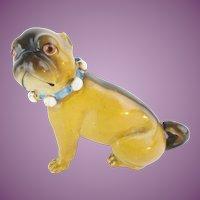 """Antique Porcelain German Pug """"BLUE BOW"""""""