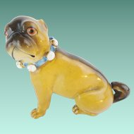 "Lovely Antique Porcelain German Pug ""BLUE BOW"""