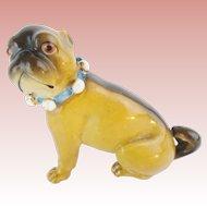 """Lovely Antique Porcelain German Pug """"BLUE BOW"""""""