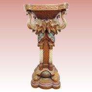 "GRANDEST  35"" Antique German Porcelain Elephant Pedestal."" URIELA"""