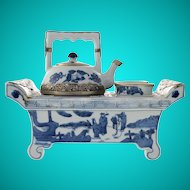 RARE Chinese Porcelain Tea for Two Set ~Rare and Wonderful Set ~  Stunning Metal Mounts to Handles and Rims