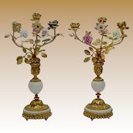 """EXQUISITE 14"""" Antique French Bronze Marble Candelabras PAIR """"Porcelain Flowers & Bronze Leaves"""""""