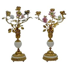 "EXQUISITE 14"" Antique French Bronze Marble Candelabras PAIR ""Porcelain Flowers & Bronze Leaves"""