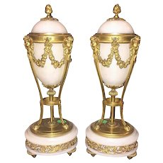 EXQUISITE Antique French Marble & Bronze Urns