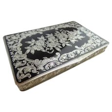 "Antique Austrian Sterling Silver Gilt &  Black Enamel Hinged Box  ""MADE IN AUSTRIA,""   ~ STERLING SILVER,  ""717,"" (925 stamp) ~"