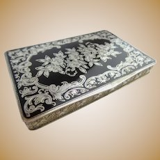 """Antique Austrian Sterling Silver Gilt &  Black Enamel Hinged Box  """"MADE IN AUSTRIA,""""   ~ STERLING SILVER,  """"717,"""" (925 stamp) ~"""