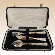 Estate Vintage Silver Condiment Three Piece  Service Set.