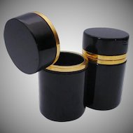PAIR Antique French Black Opaline Tall Hinged Boxes ~ A Matching Pair!