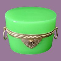 """Antique French Green Opaline Double Handle Casket Hinged Box  ~ """"LUSCIOUS GREEN OPALINE"""""""