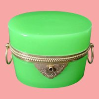 "Antique French Green Opaline Double Handle Casket Hinged Box  ~ ""LUSCIOUS GREEN OPALINE"""