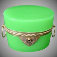 Exquisite Antique French Green Opaline Double Handle Casket Hinged Box