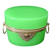 GRANDEST  Antique French Green Opaline Double Handle Casket Hinged Box ~ LUSCIOUS GREEN OPALINE