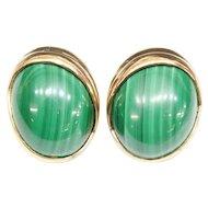 14KARAT Oval Cabochon Malachite Earrings