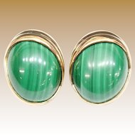 14KARAT Oval Cabochon Malachite Earrings
