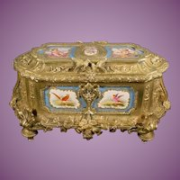 "15"" Antique Bronze Casket w  7 Sevres Porcelain Plaques ~ "" SIMPLY THE BEST!""  ~  Majestic Size ~""A MASTERPIECE"""