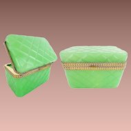 "Antique Opaline Casket Hinged Box ""RARE Green Opaline w Beautiful Ornate Mounts"""