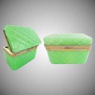 "Antique Opaline Casket Hinged Box ""RARE Green Opaline w Beautiful Ornate Mounts"""