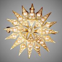 Exquisite  14K Seed Pearls & Diamond Burst Brooch Pendant ~ Majestic Sunburst