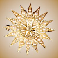 Exquisite  14K Seed Pearls & Diamond Burst Brooch Pendant ~ Majestic Sunburst