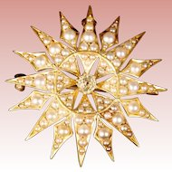 EXQUISITE 14K Seed Pearls & Diamond Burst Brooch Pendant ~ SUNBURST