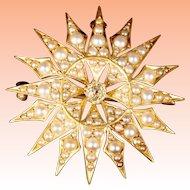 EXQUISITE 14K Seed Pearls & Diamond Burst Brooch Pendant ~ SUNBURST